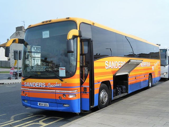 Sanders Coaches' Plaxton Paragon bodied Volvo B12M WSV503 awaiting its next duty at Lowestoft Station