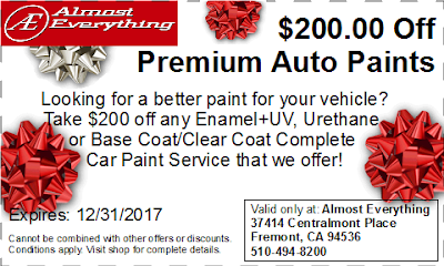 Discount Coupon $200 Off Premium Auto Paint Sale December 2017