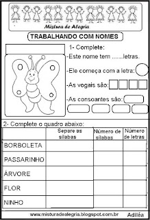 Trabalhando com o nome borboleta
