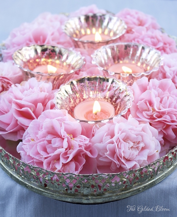 Tray of Camellias with Votive Candles- www.gildedbloom.com