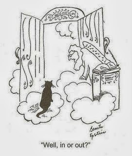 Funny Heaven Cartoon Joke Picture - Cat at pearly gates - St Peter - Well, in or out?