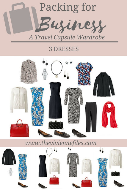A travel wardrobe including 3 dresses for business travel