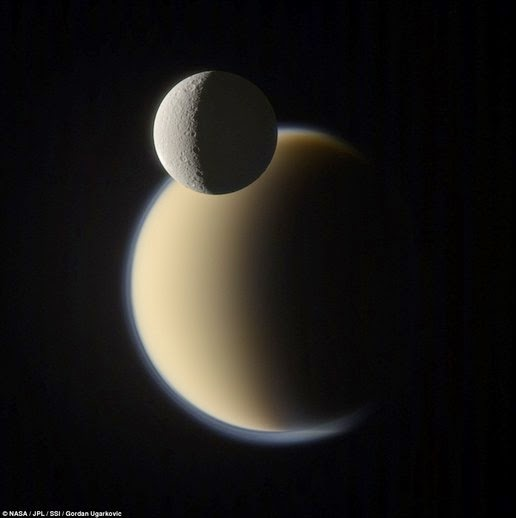 Image of Saturn's moon Titan (rear) and Rhea were taken by the Cassini spacecraft. When this image was taken, Titan is 2.038 million km from Cassini and Rhea is 1.329 million km
