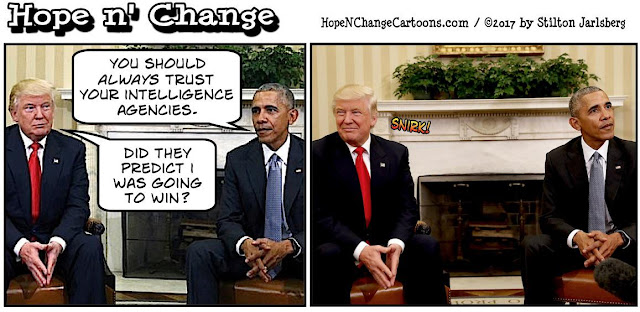 obama, obama jokes, political, humor, cartoon, conservative, hope n' change, hope and change, stilton jarlsberg, trump, intelligence, hacking, Russia, Putin, report