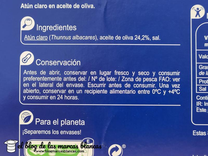 Ingredientes del atún claro en aceite de oliva (pack 8) CARREFOUR en el blog de las marcas blancas.