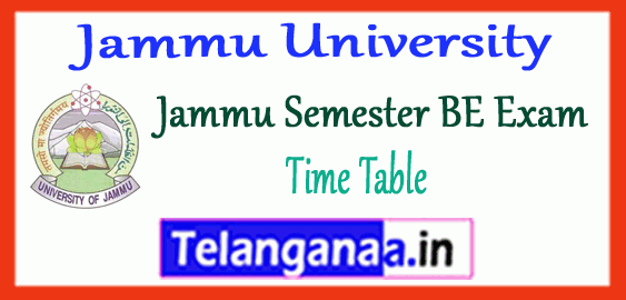 Jammu University BE 1st 3rd 5th 7th Semester Time Table