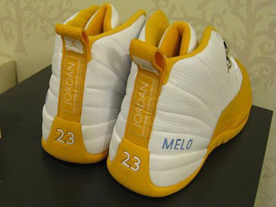 """online retailer 3bf32 fa06e Here s a look at a pair of Air Jordan 12 – Carmelo Anthony """"Nuggets"""" Home  PE.He wont be wearing these much longer! More photos after the jump."""