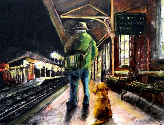 station platform, man and dog, oil painting,