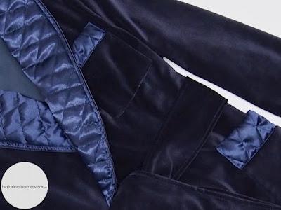 mens smoking jacket dark blue velvet navy dressing gown cigar smoker robe quilted silk collar english style
