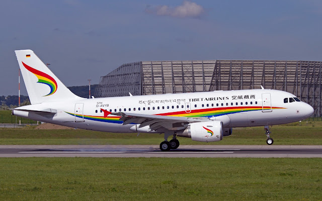 tibet airlines airbus a319-100 rotating takeoff