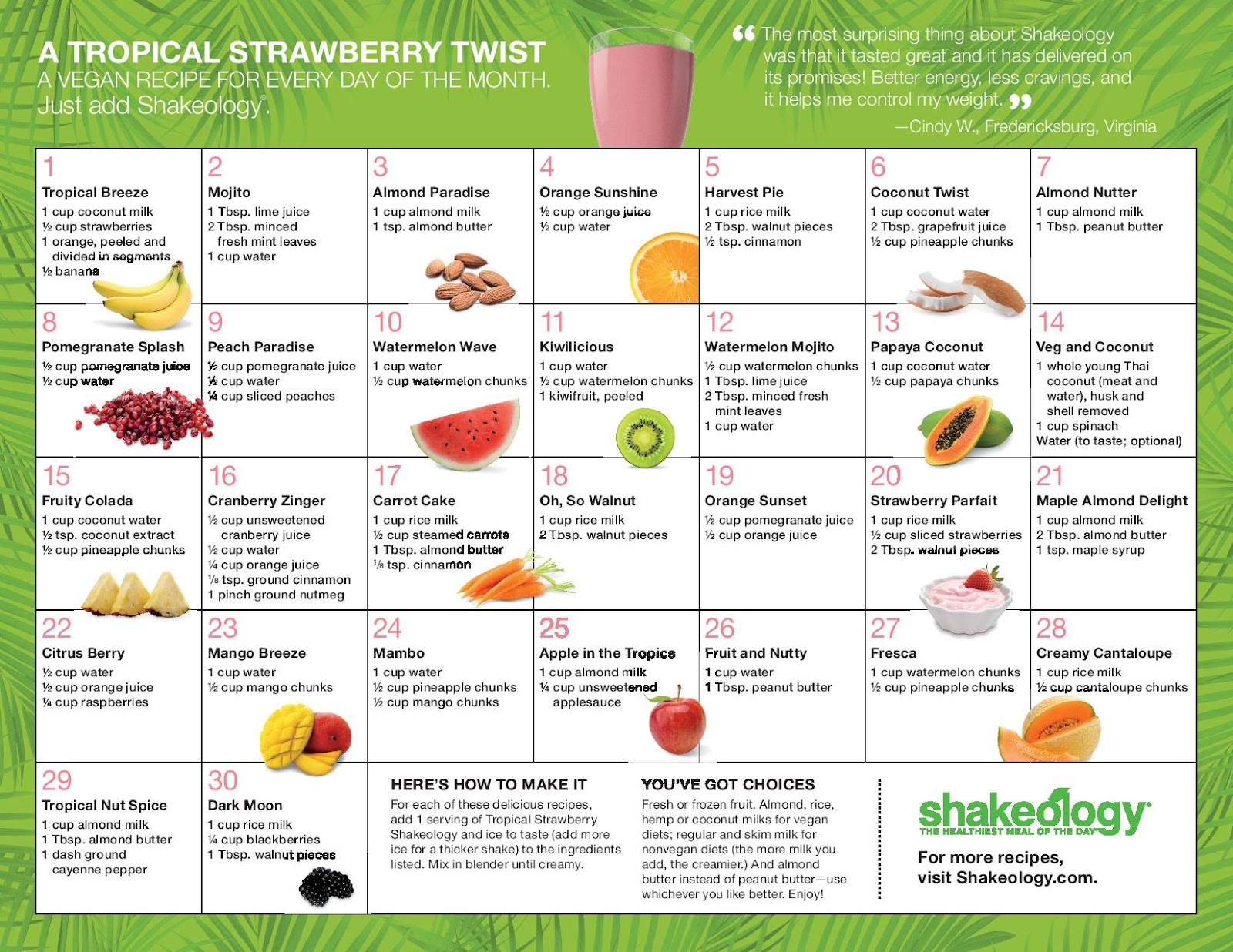 Fit Not Fat Shakeology Recipe Calendars