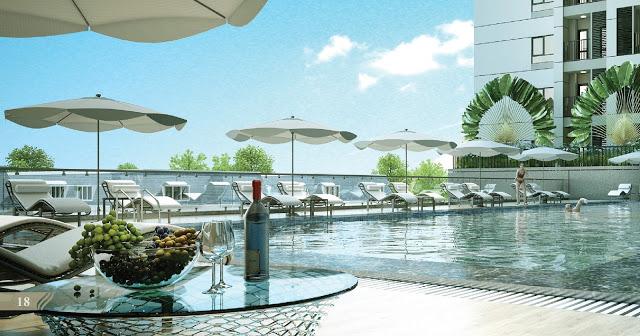 Bể bơi tràn nhiệt đới tại chung cư Royal Park