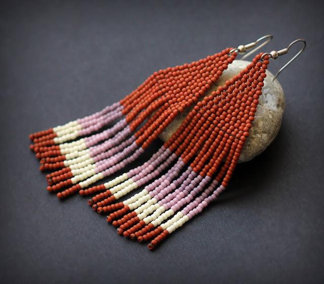 купить модные молодежные сережки из бисера висячие серьги в стиле бохо этно цена купить фото картинки