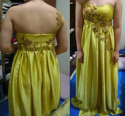 model baju pesta kain satin wanita gemuk