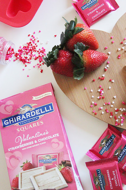 Ghirardelli Strawberries and Chocolate Squares Valentine's Day Bark Recipe
