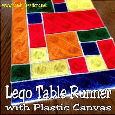 Create a unique and fun table runner for your Lego birthday party with this easy plastic canvas pattern.  Using a 1x1 inch square you can create any color and size bricks to create a runner that will thrill your family for years to come.