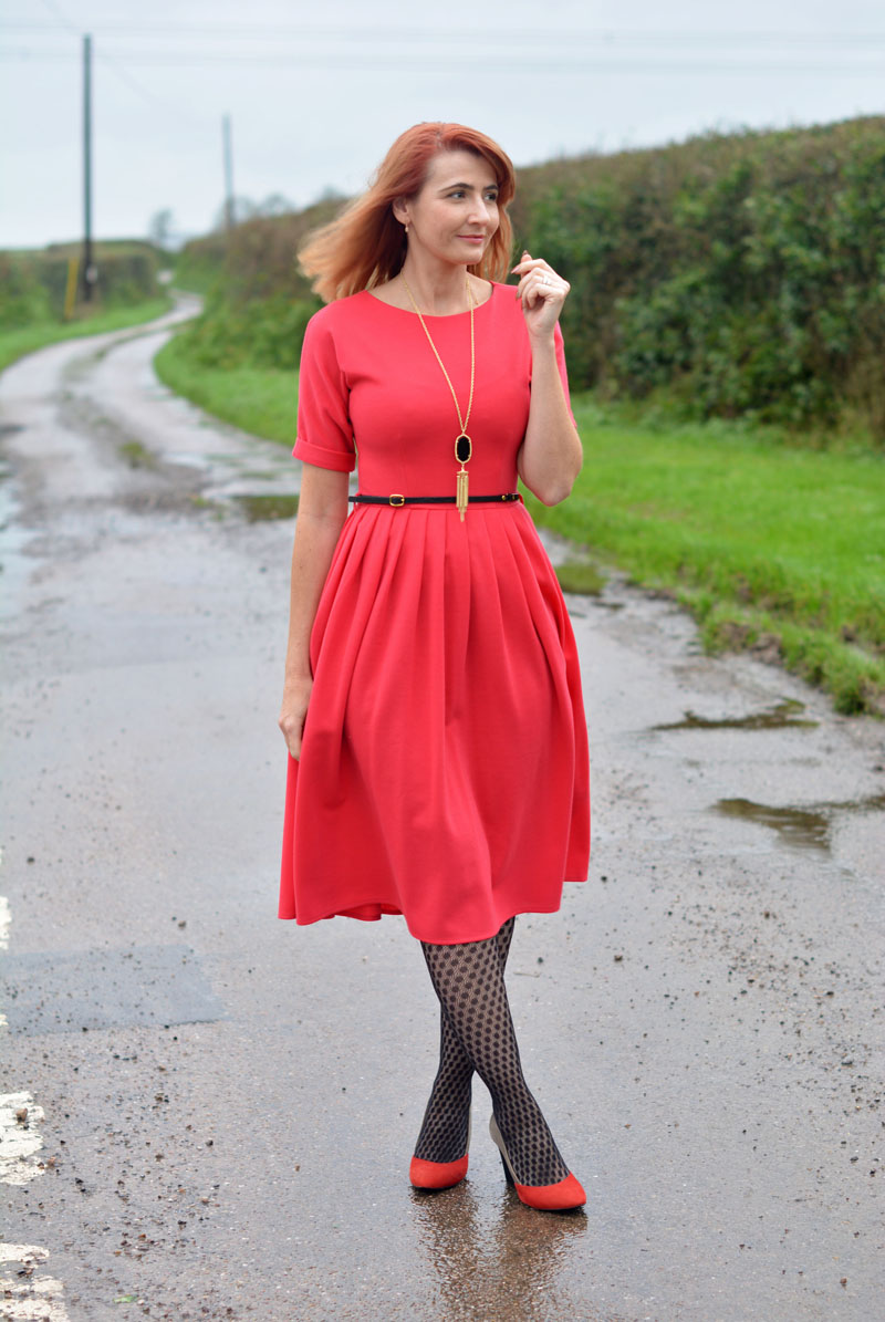 Red Fit n Flare Christmas Day Dress With Patterned Tights