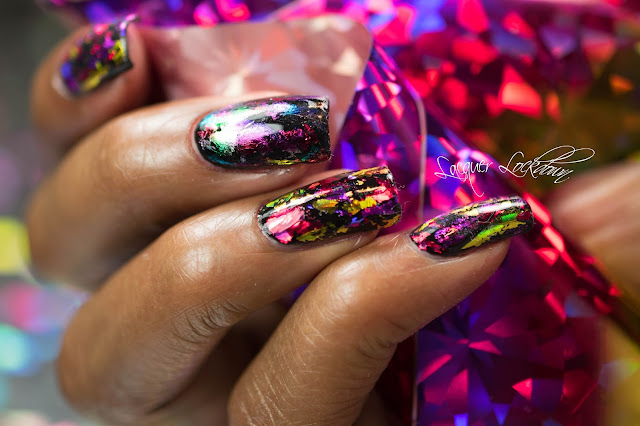 Lacquer Lockdown - nail art foil, nail foil, essie Licorice, nail art tutorial, nail art stamping blog, holographic nails, holographic foil, new years nail art, new year eve nails