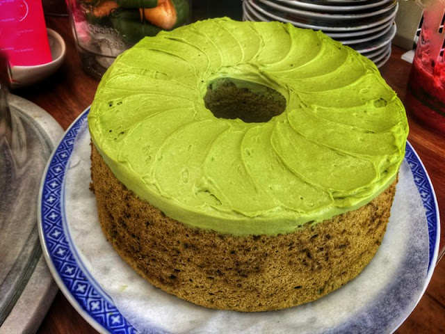 Creamy matcha icing on this light as air tea cake at Sinmei Tea.