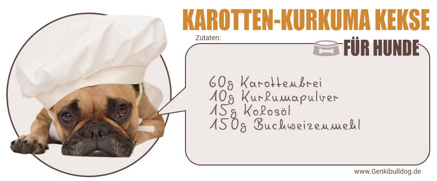 Zutaten für selbstgemachte Karotten-Kurkuma Hundekekse
