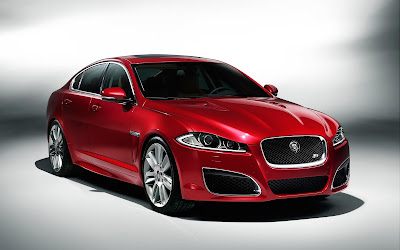 Jaguar XJ premium luxury sedan red color image