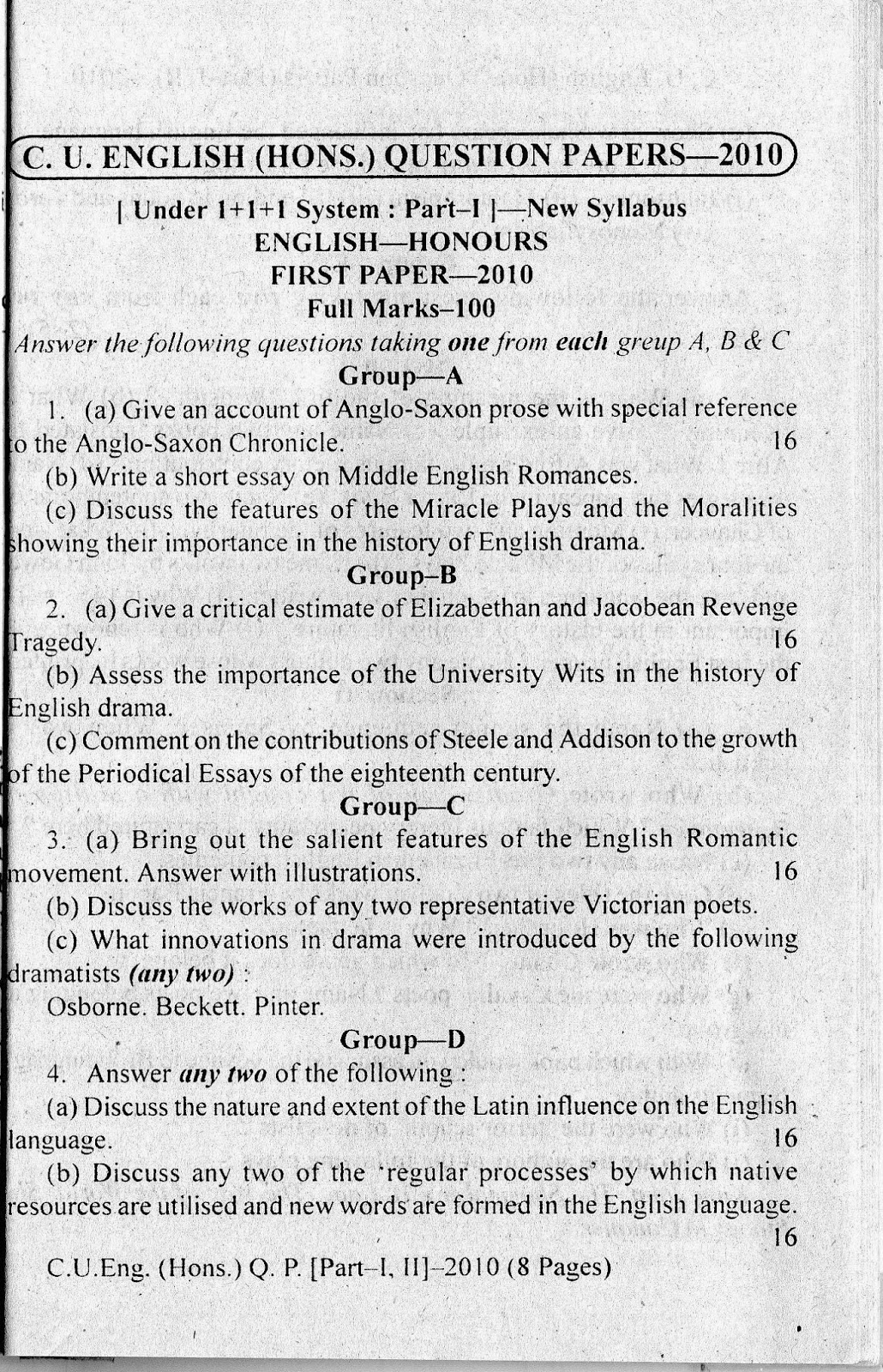 C U  ENGLISH HONOURS QUESTION PAPER 2010 [First Paper] ~ The Wise