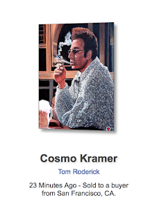 Cosmo Kramer metal print by Boulder portrait artist Tom Roderick