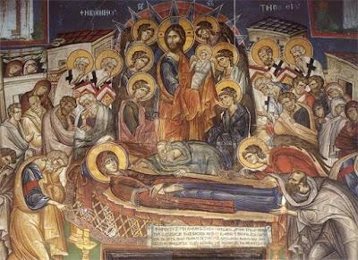 Η Κοίμηση της Παναγίας, Τοιχογραφία  καθολικού Ι.Μ. Βατοπαιδίου (1312 μ.Χ.)