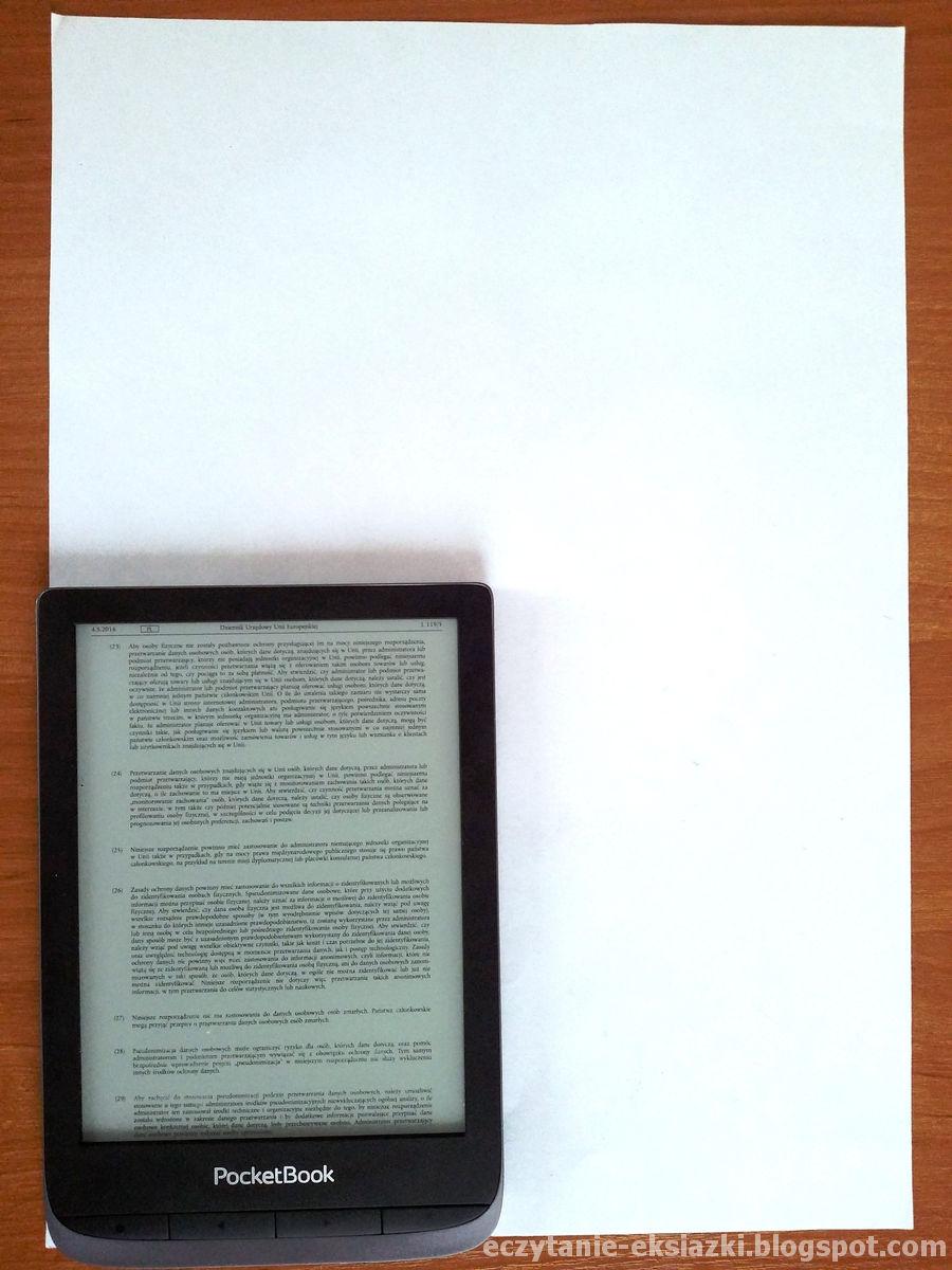 PocketBook Touch HD 3 na tle kartki papieru A4
