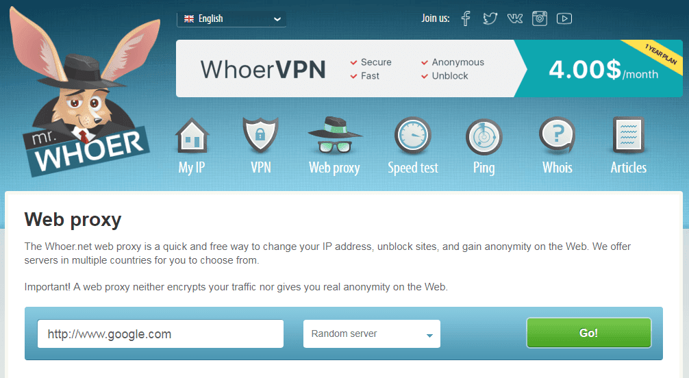 situs web proxy gratis terbaik Whoer