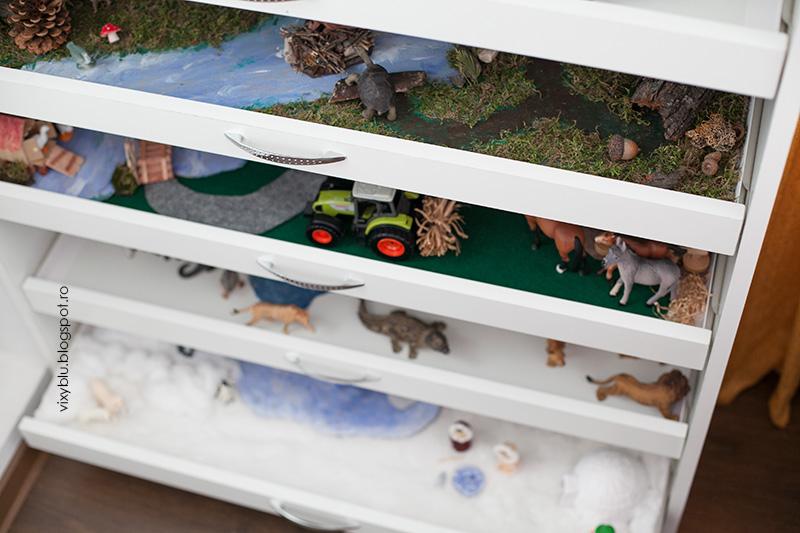 tava senzoriala, habitat popul sud, diorama, pinguini, figurine polare, antarctica, organizare habitate, dulap cu diorame, ferma, habitat padurea