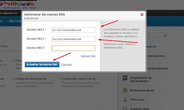 dirección de servidores para conectar dominio y hosting