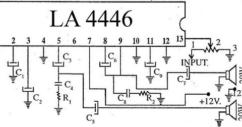 Top Performance LA4446 Stereo Audio Amplifier Circuit