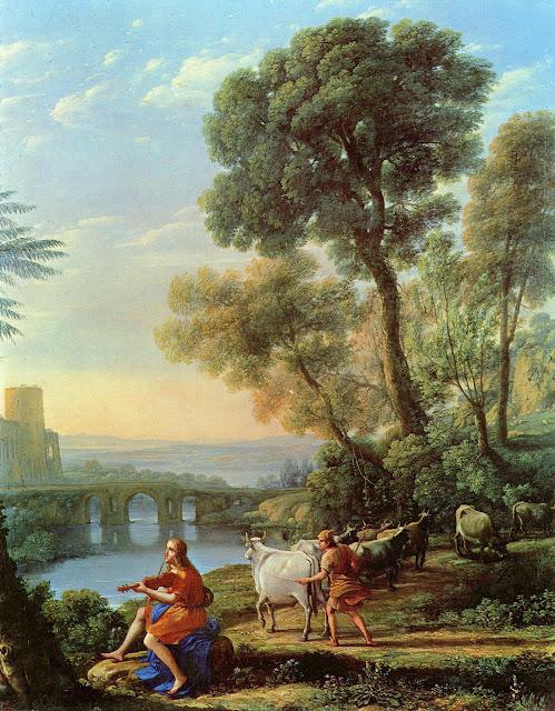 Claude Gellee - Paisaje con Apolo y Mercurio - c. 1645