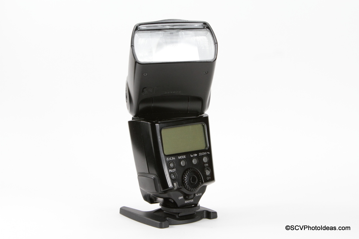 Canon Speedlite 580EX flash head facing back tilted upwards