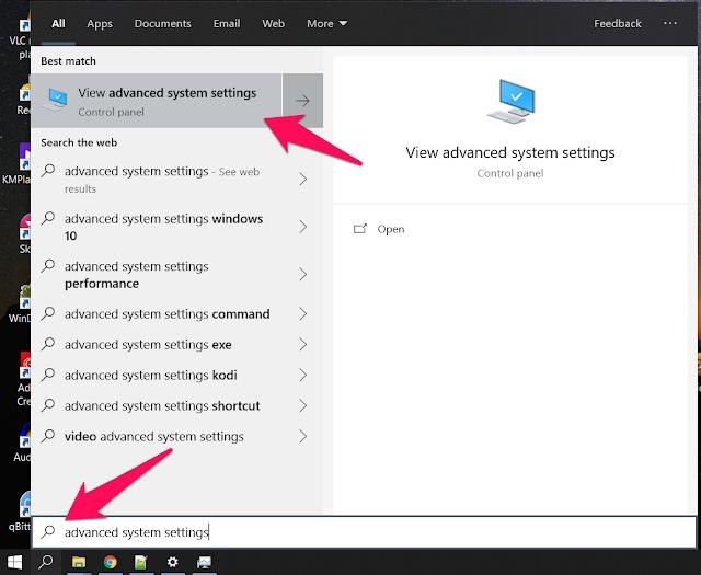 اكتب advanced system settings في مربع البحث