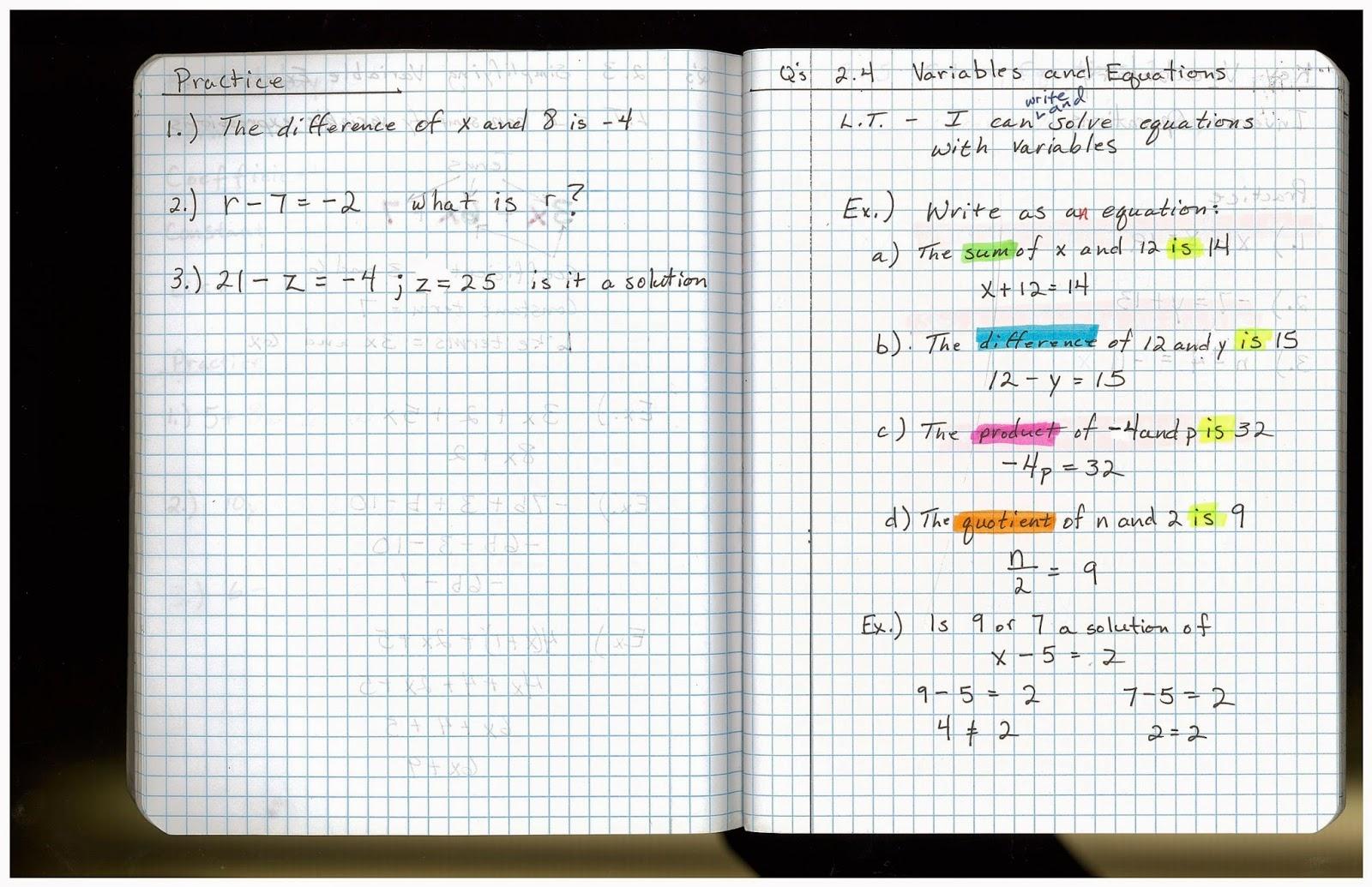 Heidemann 8th Grade Math: 5th Period Pre Algebra 10/7 [ 1035 x 1600 Pixel ]