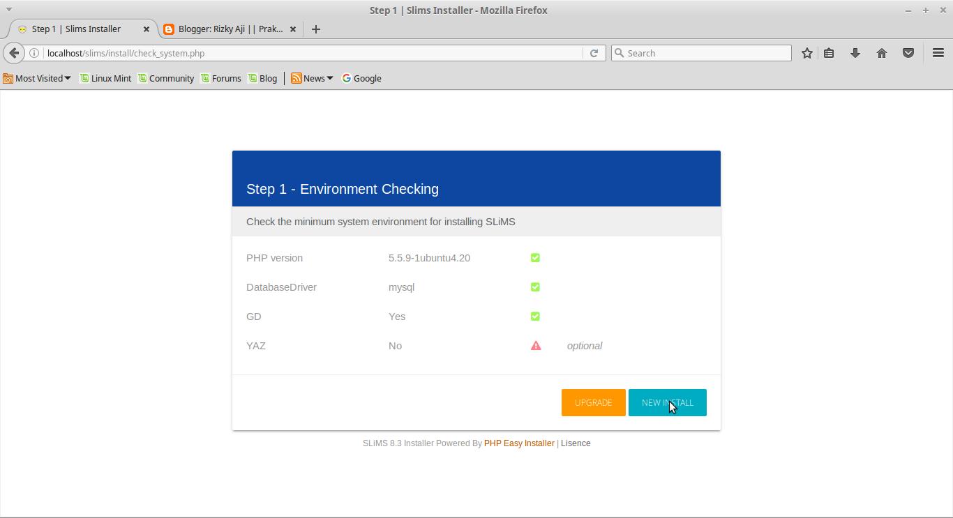 Image result for gambar tampilan step awal instalasi slims 8 akasia
