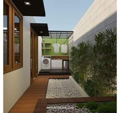 contoh desain taman belakang rumah teras minimalis - foto