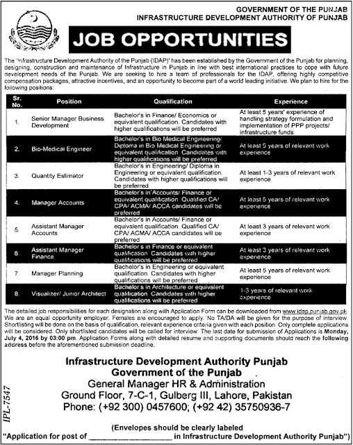 Jobs in Pakistan Infrastructure Development Authority Punjab