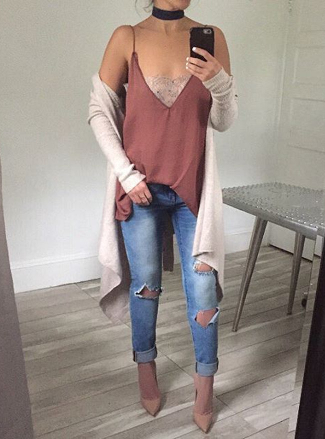 cardi + rips outfit