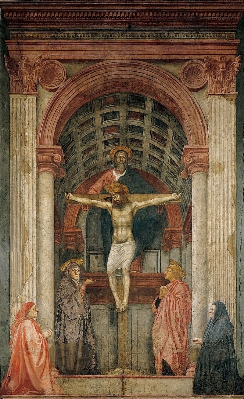 the holy trinity by masaccio The holy trinity by masaccio surely masaccio's depiction of the holy trinity in the nave of the dominican church of santa maria sopra minerva in florence (1426-28) can be considered one of the first works of the italian renaissance.