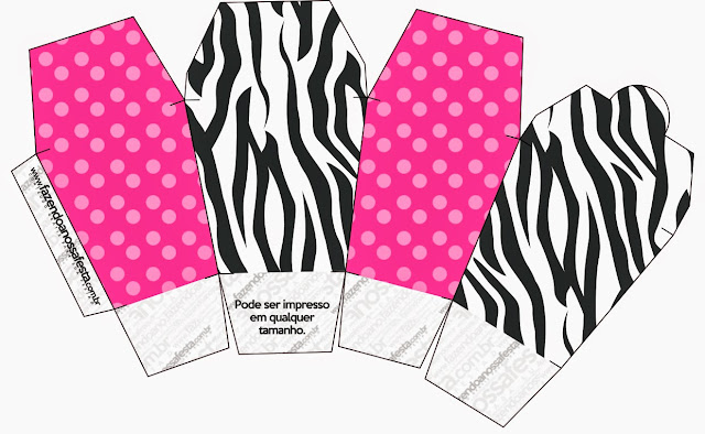 Zebra and Pink Free Printable Chinese Take Away Box.