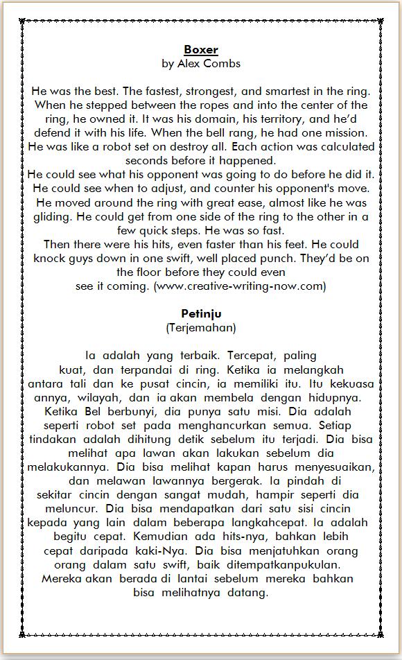 contoh cerita bahasa inggris dan terjemahan