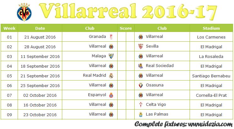 Download Jadwal Villarreal CF 2016-2017 File JPG - Download Kalender Lengkap Pertandingan Villarreal CF 2016-2017 File JPG - Download Villarreal CF Schedule Full Fixture File JPG - Schedule with Score Coloumn
