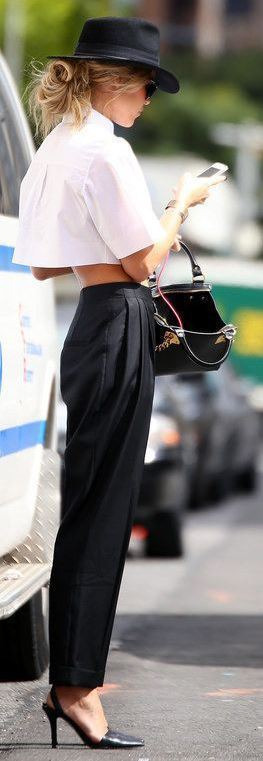 cute spring outfit idea  / white crop top + heels + pants + bag + hat