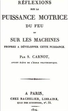 Title page of the 1824 French first edition of 'Réflexions sur la puissance motrice du feu et sur les machines propres à développer cette puissance'