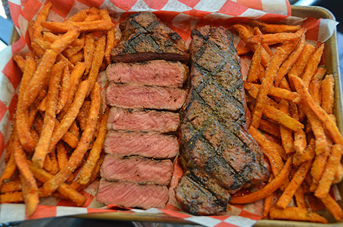 Grilled Garlic and Herb NY Strip Steaks and Sweet Potato Fries. #BestAngusBeef #Steakholder
