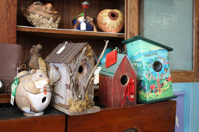 Locally made birdhouses at Wildbird Shack in Mount Prospect, IL
