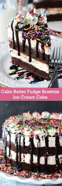 CAKE BATTER FUDGE BROWNIE ICE CREAM CAKE